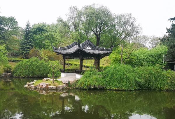 泰山公园小西湖景色山亭